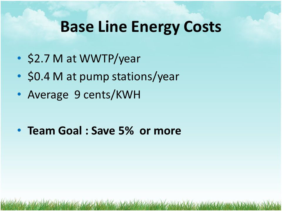 Base Line Energy Costs $2.7 M at WWTP/year $0.4 M at pump stations/year Average 9 cents/KWH Team Goal : Save 5% or more