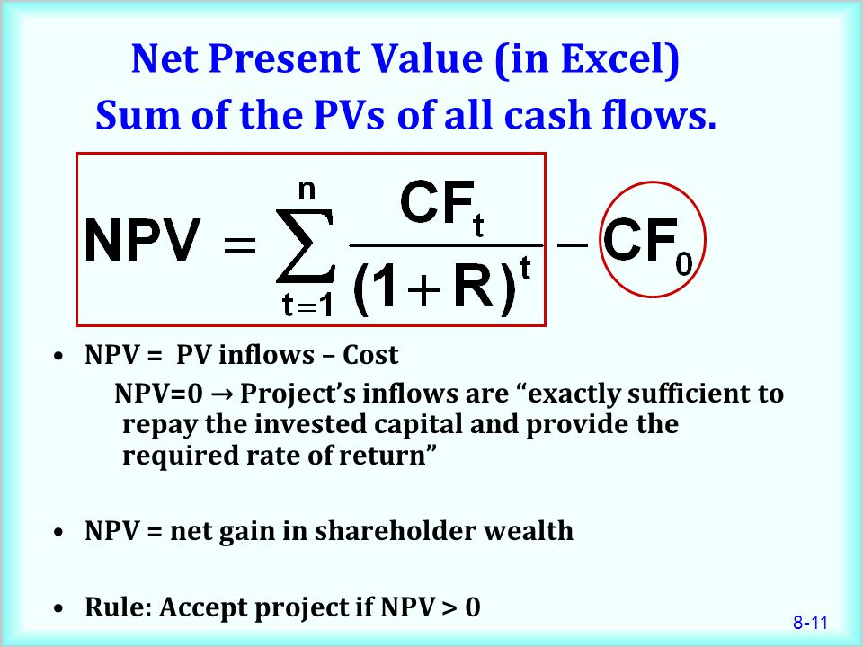 8-11 Net Present Value (in Excel) Sum of the PVs of all cash flows.
