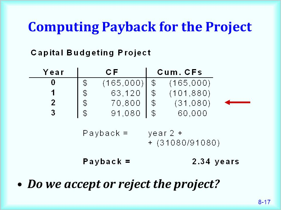 8-17 Computing Payback for the Project Do we accept or reject the project?