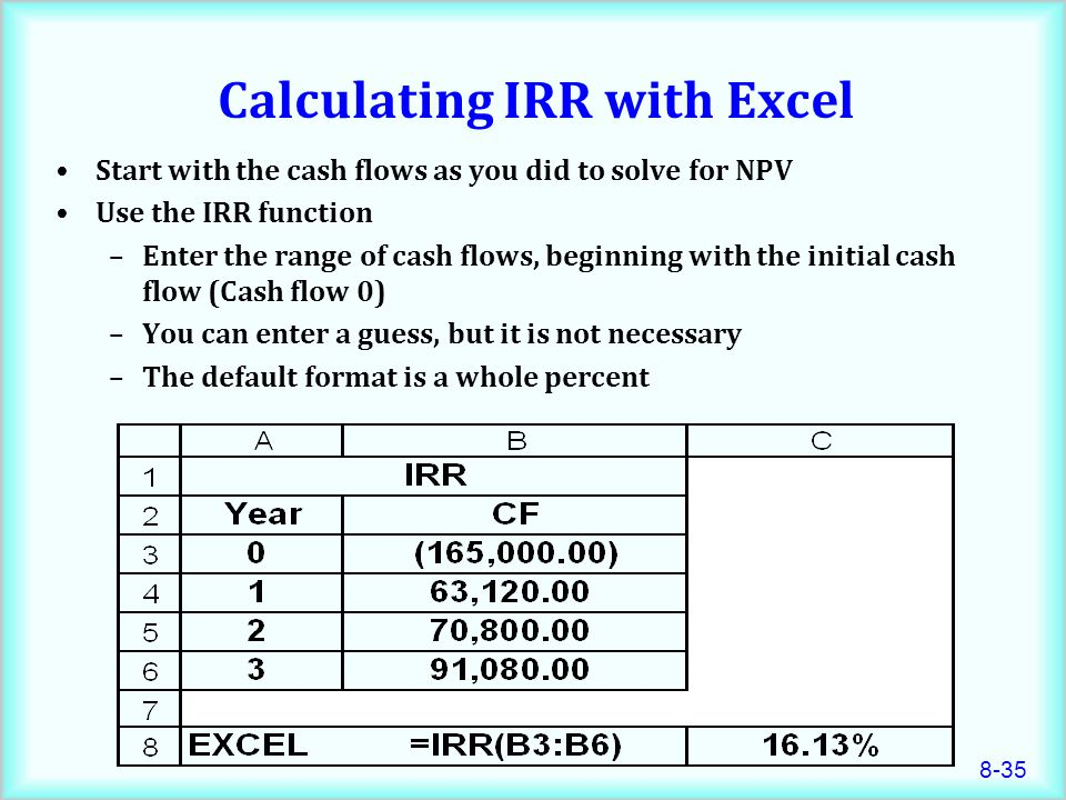8-35 Calculating IRR with Excel Start with the cash flows as you did to solve for NPV Use the IRR function –Enter the range of cash flows, beginning with the initial cash flow (Cash flow 0) –You can enter a guess, but it is not necessary –The default format is a whole percent