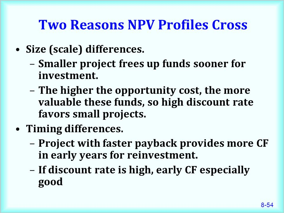 8-54 Two Reasons NPV Profiles Cross Size (scale) differences.