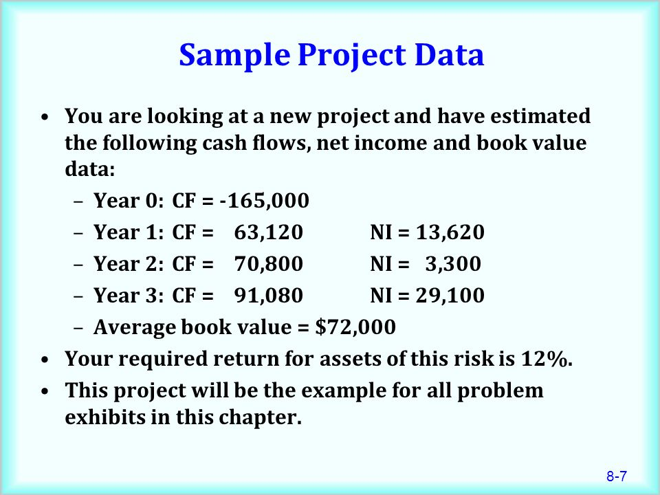 8-7 Sample Project Data You are looking at a new project and have estimated the following cash flows, net income and book value data: –Year 0:CF = -165,000 –Year 1:CF = 63,120 NI = 13,620 –Year 2:CF = 70,800 NI = 3,300 –Year 3:CF = 91,080 NI = 29,100 –Average book value = $72,000 Your required return for assets of this risk is 12%.
