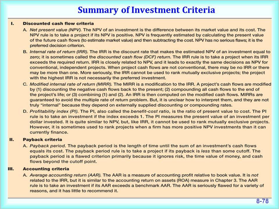 8-78 Summary of Investment Criteria
