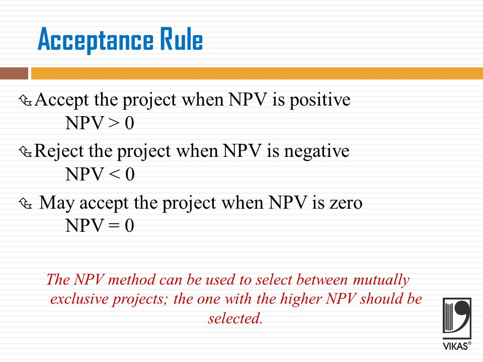 Evaluation of the NPV Method  NPV is most acceptable investment rule for the following reasons:  Time value  Measure of true profitability  Value-additivity  Shareholder value  Limitations:  Involved cash flow estimation  Discount rate difficult to determine  Mutually exclusive projects  Ranking of projects