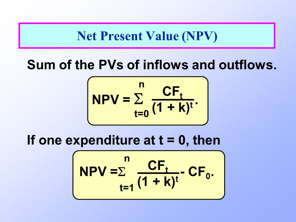 Sum of the PVs of inflows and outflows. Net Present Value (NPV) If one expenditure at t = 0, then NPV =   n t=0 CF t (1 + k) t NPV = 