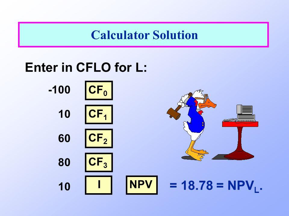 = 18.78 = NPV L. Calculator Solution Enter in CFLO for L: -100 10 60 80 10 CF 0 CF 1 NPV CF 2 CF 3 I