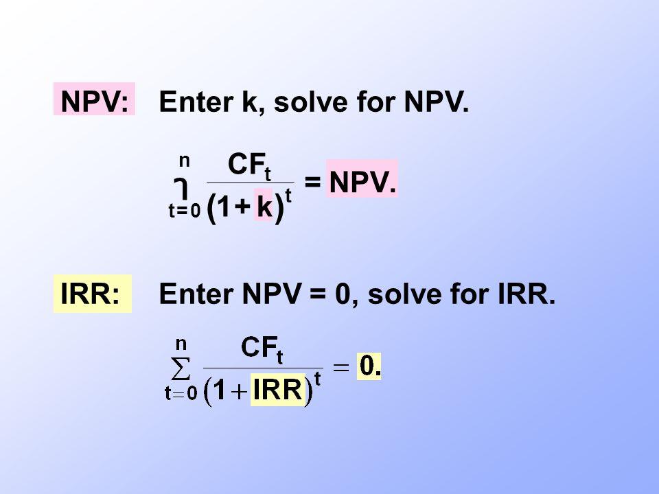 NPV:Enter k, solve for NPV. IRR:Enter NPV = 0, solve for IRR.  t n t t CF k NPV     0 1.