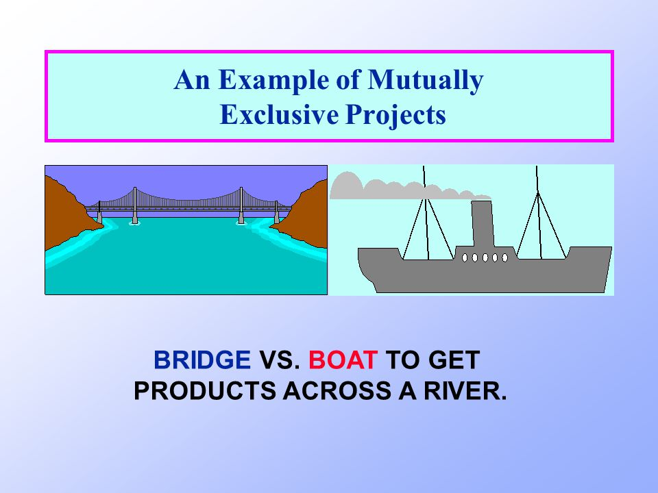 An Example of Mutually Exclusive Projects BRIDGE VS. BOAT TO GET PRODUCTS ACROSS A RIVER.