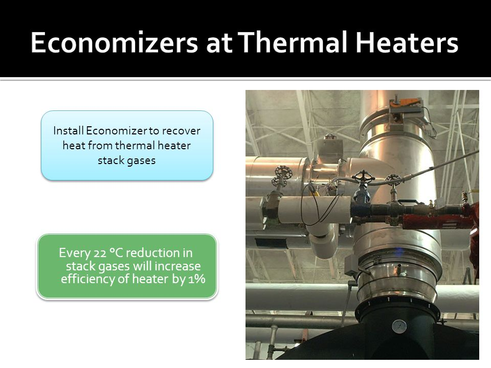 Every 22 °C reduction in stack gases will increase efficiency of heater by 1% Install Economizer to recover heat from thermal heater stack gases