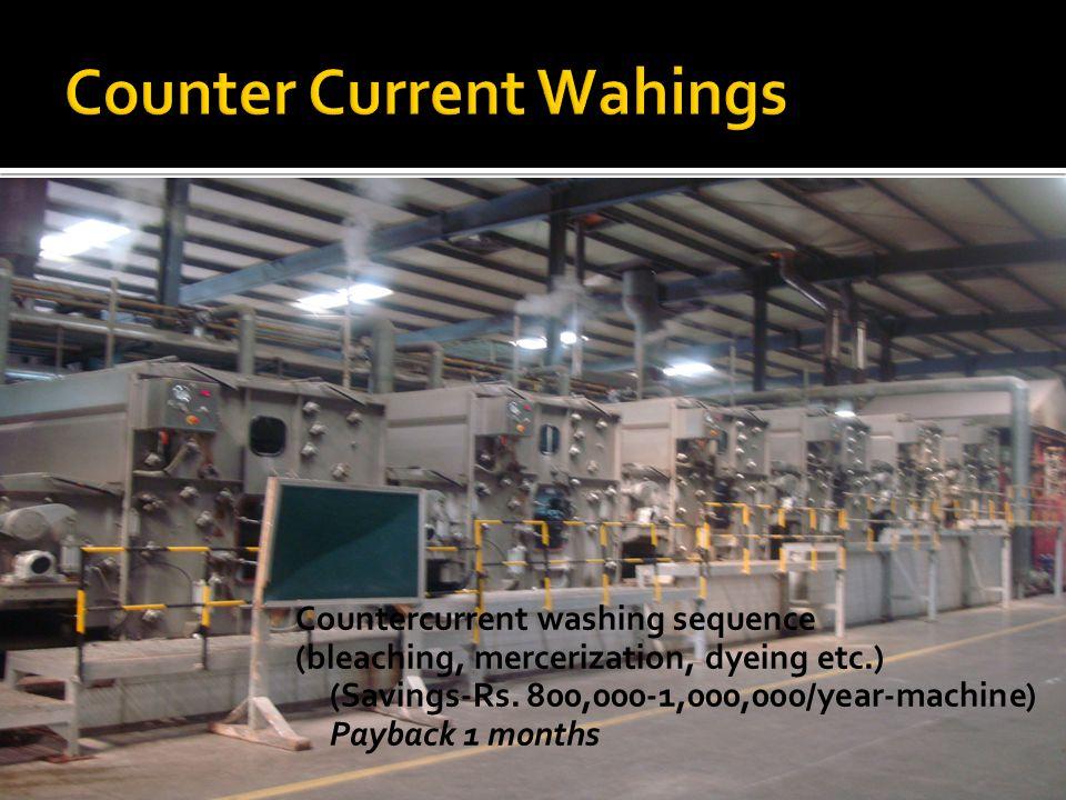 Countercurrent washing sequence (bleaching, mercerization, dyeing etc.) (Savings-Rs.