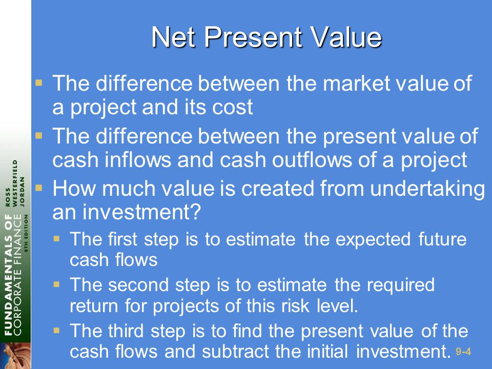 9-35 Advantages and Disadvantages of Discounted Payback  Advantages  Includes time value of money  Easy to understand  Does not accept negative estimated NPV investments when all future cash flows are positive  Biased towards liquidity  Disadvantages  May reject positive NPV investments  Requires an arbitrary cutoff point  Ignores cash flows beyond the cutoff point  Biased against long- term projects, such as R&D and new products