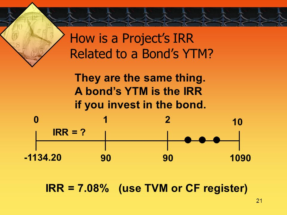21 How is a Project's IRR Related to a Bond's YTM? They are the same thing. A bond's YTM is the IRR if you invest in the bond. 90109090 012 10 IRR = ?