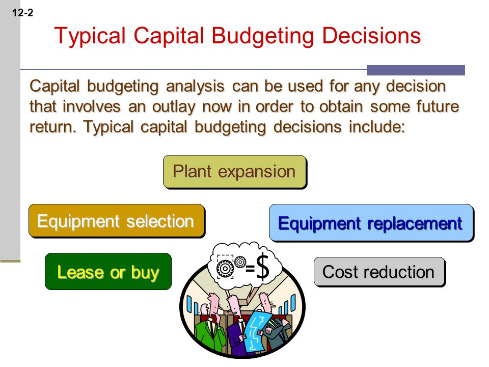 12-2 Typical Capital Budgeting Decisions Plant expansion Equipment selection Equipment replacement Lease or buy Cost reduction Capital budgeting analysis can be used for any decision that involves an outlay now in order to obtain some future return.