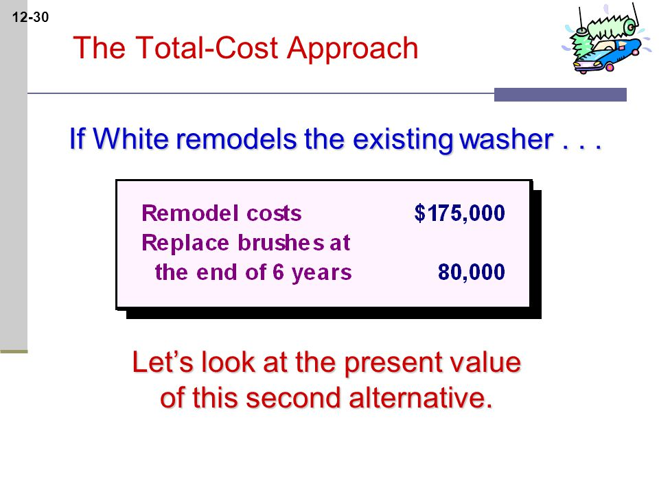 12-30 The Total-Cost Approach If White remodels the existing washer...