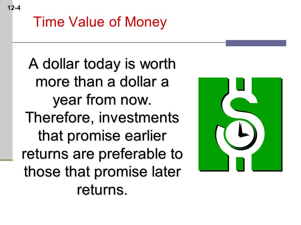 12-4 Time Value of Money A dollar today is worth more than a dollar a year from now.