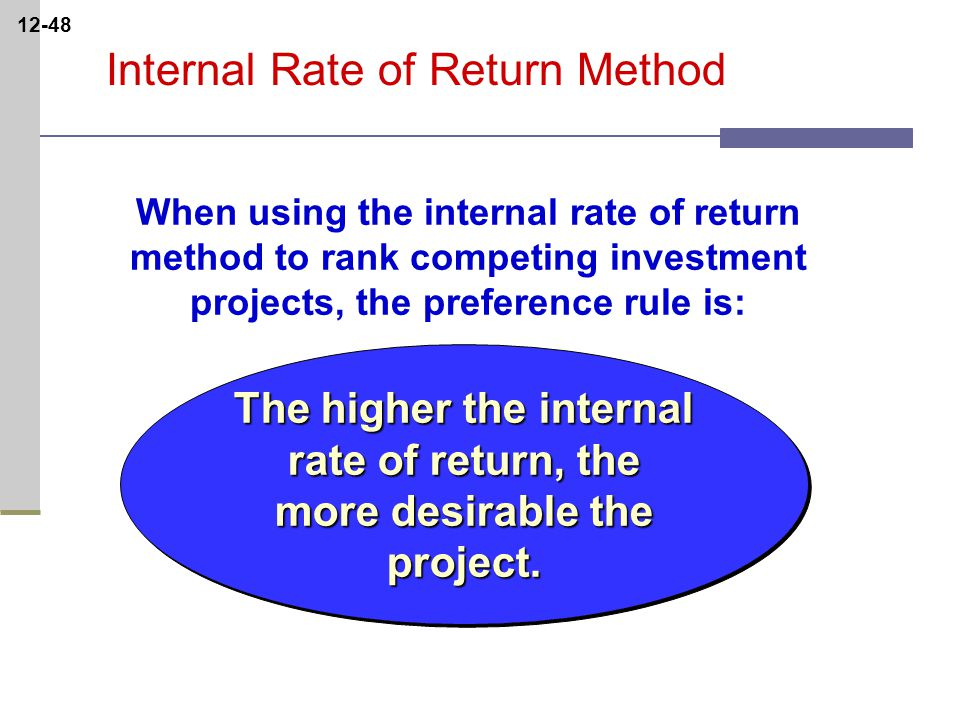 12-48 The higher the internal rate of return, the more desirable the project.