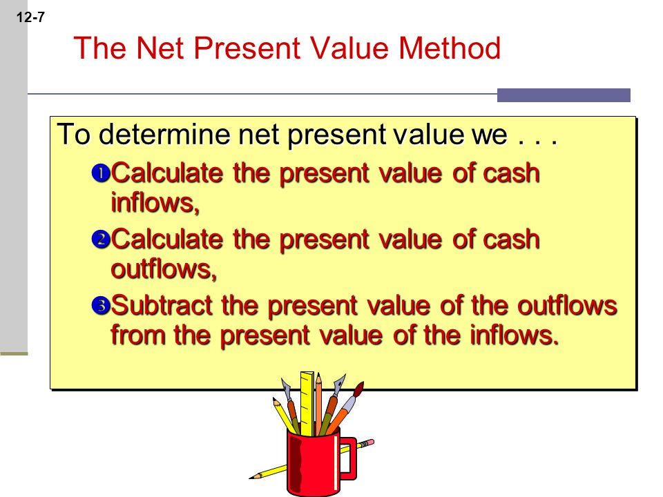 12-7 The Net Present Value Method To determine net present value we...