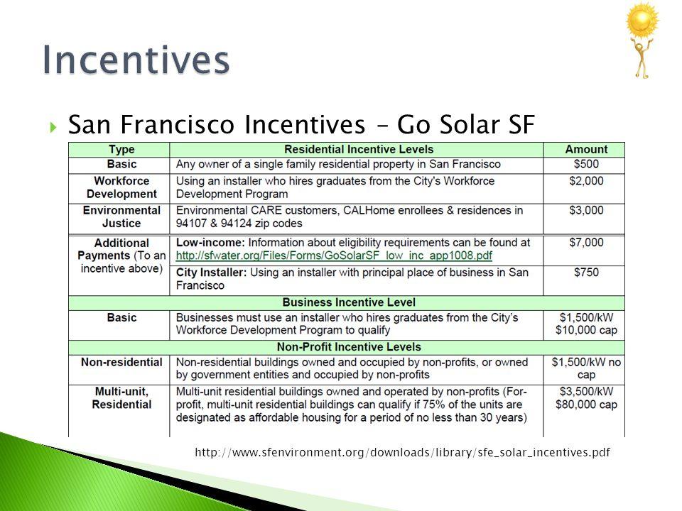  San Francisco Incentives – Go Solar SF http://www.sfenvironment.org/downloads/library/sfe_solar_incentives.pdf