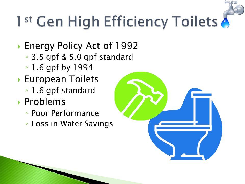  Maximum Performance (MaP) Testing ◦ US and Canadian Municipalities ◦ Limitations  Bowl Cleaning  Noise  Water Sense Label ◦ EPA Program ◦ Criteria  Water Efficiency  Performance
