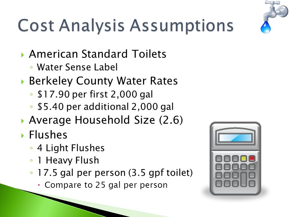  American Standard Toilets ◦ Water Sense Label  Berkeley County Water Rates ◦ $17.90 per first 2,000 gal ◦ $5.40 per additional 2,000 gal  Average Household Size (2.6)  Flushes ◦ 4 Light Flushes ◦ 1 Heavy Flush ◦ 17.5 gal per person (3.5 gpf toilet)  Compare to 25 gal per person