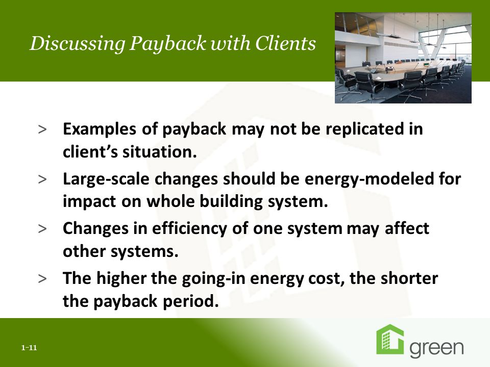 Slide header copy Discussing Payback with Clients 1-11 >Examples of payback may not be replicated in client's situation.