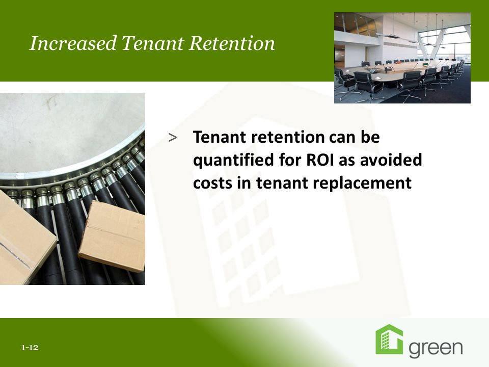 Slide header copy Increased Tenant Retention 1-12 >Tenant retention can be quantified for ROI as avoided costs in tenant replacement