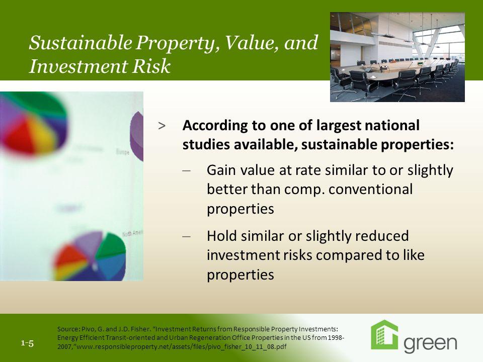 Slide header copy 1-1 1-5 >According to one of largest national studies available, sustainable properties:  Gain value at rate similar to or slightly better than comp.
