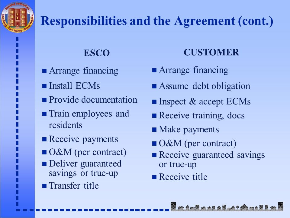 Responsibilities and the Agreement (cont.) ESCO n Arrange financing n Install ECMs n Provide documentation n Train employees and residents n Receive payments n O&M (per contract) n Deliver guaranteed savings or true-up n Transfer title CUSTOMER n Arrange financing n Assume debt obligation n Inspect & accept ECMs n Receive training, docs n Make payments n O&M (per contract) n Receive guaranteed savings or true-up n Receive title