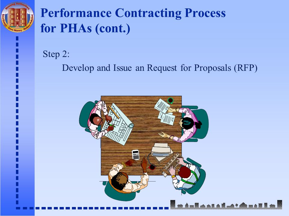 Performance Contracting Process for PHAs (cont.) Step 2: Develop and Issue an Request for Proposals (RFP)