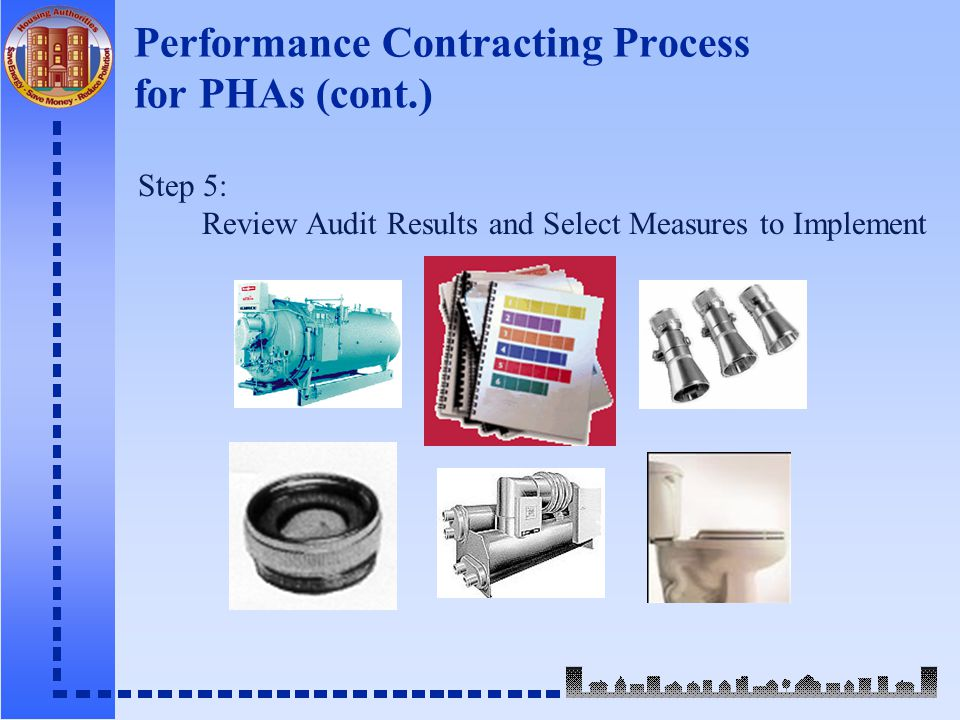 Performance Contracting Process for PHAs (cont.) Step 5: Review Audit Results and Select Measures to Implement