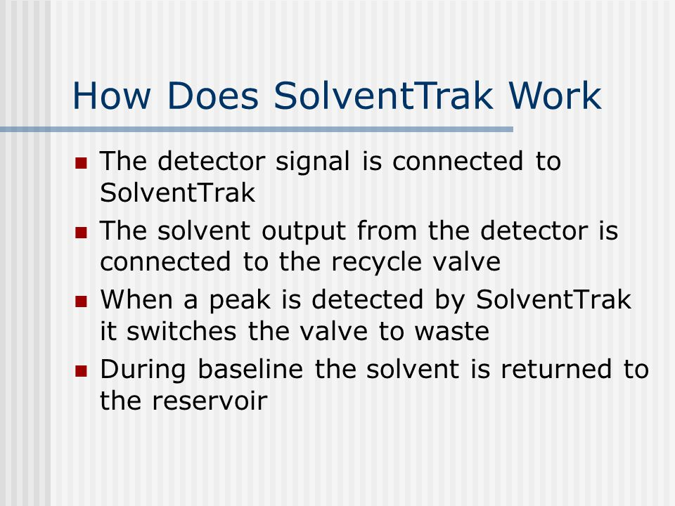 SolventTrak Validation 'Tick' marks show peak detection.