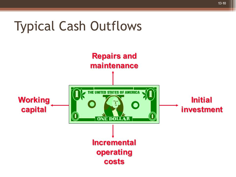 13-10 Typical Cash Outflows Repairs and maintenance Incrementaloperatingcosts InitialinvestmentWorkingcapital