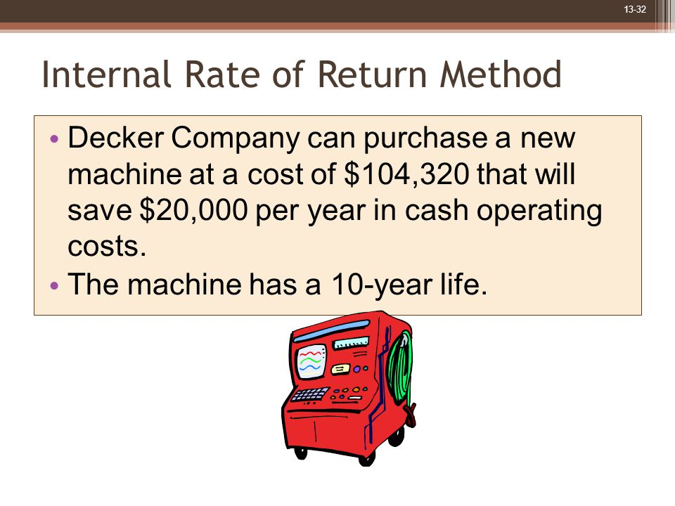 13-32 Internal Rate of Return Method Decker Company can purchase a new machine at a cost of $104,320 that will save $20,000 per year in cash operating costs.