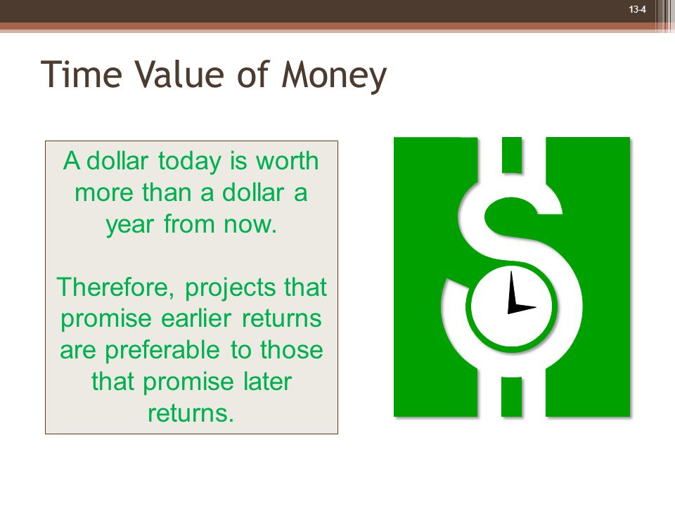 13-4 Time Value of Money A dollar today is worth more than a dollar a year from now.