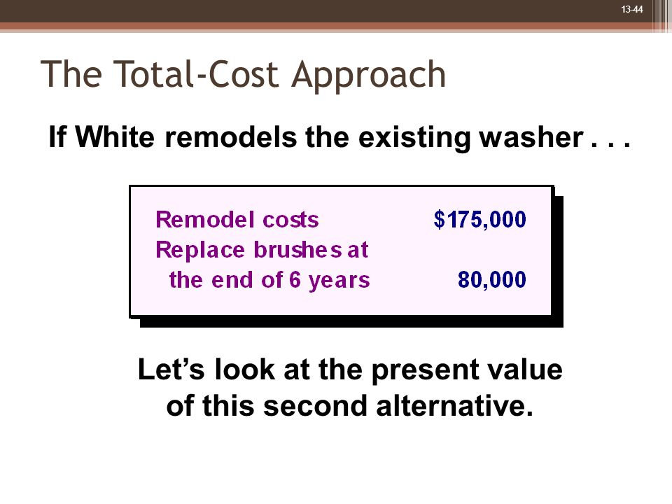 13-44 The Total-Cost Approach If White remodels the existing washer...