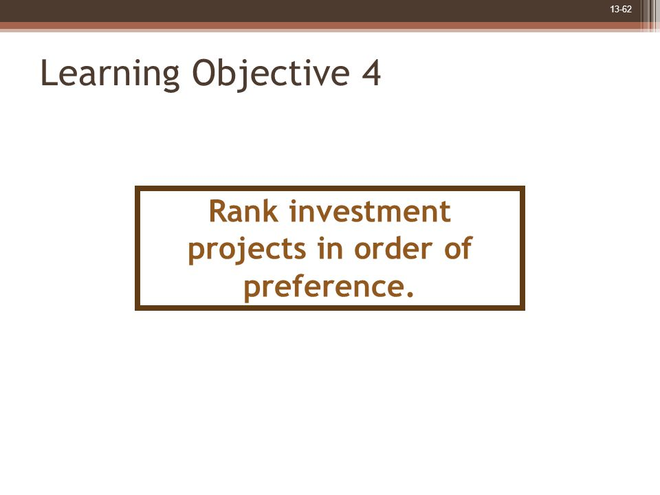 13-62 Learning Objective 4 Rank investment projects in order of preference.