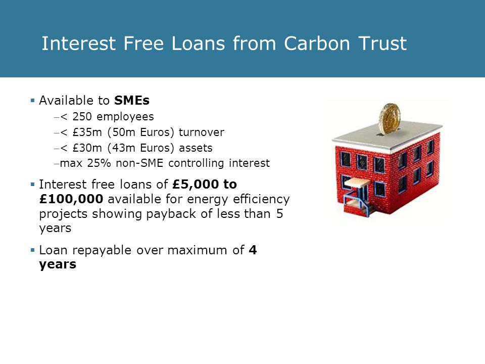 Interest Free Loans from Carbon Trust Small and Medium Enterprises (SMEs) in England & Wales  Providing they have: – been trading for at least 12 months – an acceptable credit rating Explanation of current exemptions to the Energy-Efficiency Loans Scheme: – Agricultural sector – any enterprise active in the primary production of agricultural products is generally excluded.
