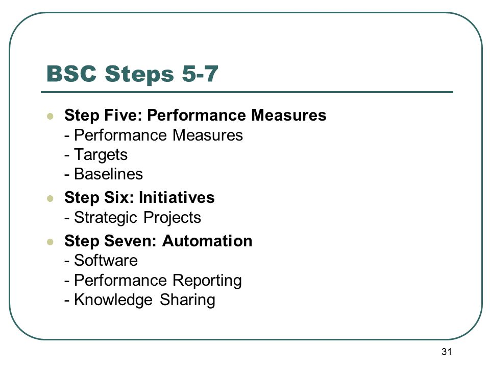 BSC Steps 5-7 Step Five: Performance Measures - Performance Measures - Targets - Baselines Step Six: Initiatives - Strategic Projects Step Seven: Automation - Software - Performance Reporting - Knowledge Sharing 31