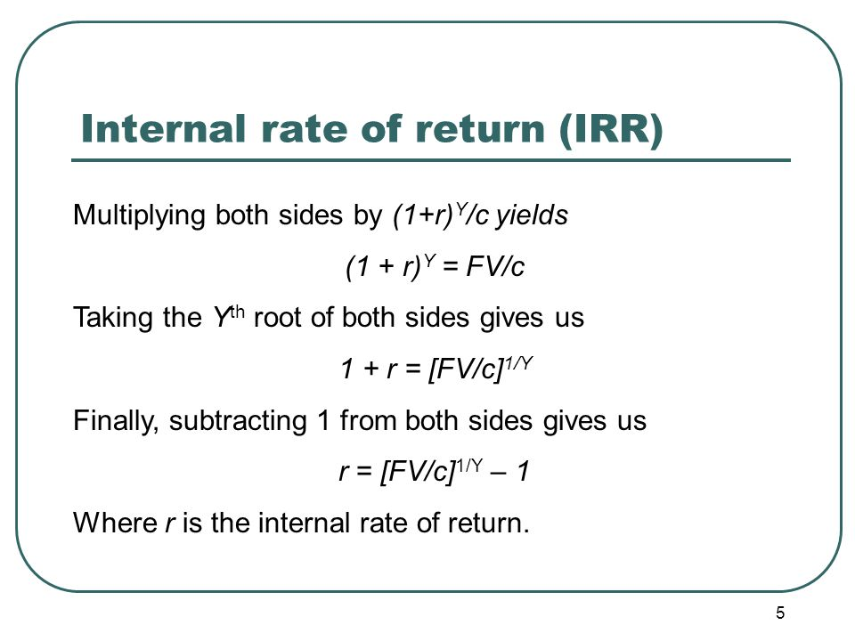 6 Internal rate of return (IRR) : example The code reading initiative just discussed is expected to cost $50,000.