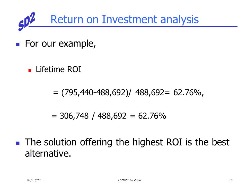 01/13/09Lecture 10 200614 Return on Investment analysis For our example, Lifetime ROI = (795,440-488,692)/ 488,692= 62.76%, = 306,748 / 488,692 = 62.7