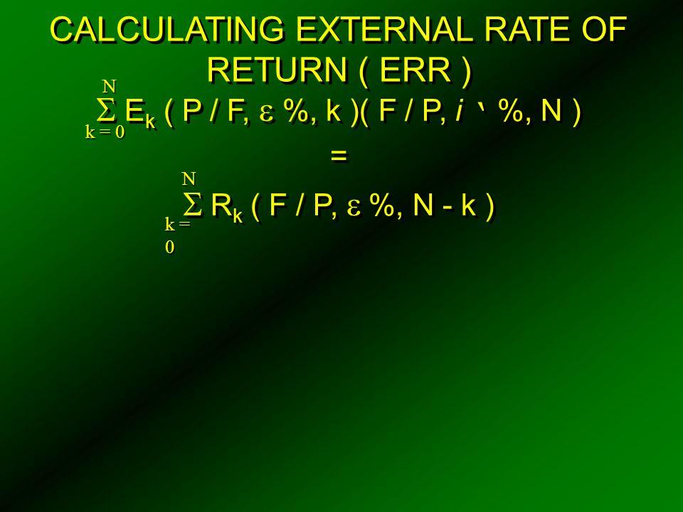 CALCULATING EXTERNAL RATE OF RETURN ( ERR )  E k ( P / F,  %, k )( F / P, i ' %, N ) =  R k ( F / P,  %, N - k )  E k ( P / F,  %, k )( F / P, i