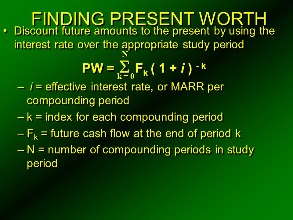 PAYBACK PERIOD METHOD The payback period can produce misleading results, and should only be used with one of the other methods of determining profitability A discounted payback period  ' ( where  ' < N ) may be calculated so that the time value of money is considered i ' is the MARR I is the capital investment made at the present time ( k = 0 ) is the present time The payback period can produce misleading results, and should only be used with one of the other methods of determining profitability A discounted payback period  ' ( where  ' < N ) may be calculated so that the time value of money is considered i ' is the MARR I is the capital investment made at the present time ( k = 0 ) is the present time  ( R k - E k ) ( P / F, i %, k ) - I > 0 k = 1 