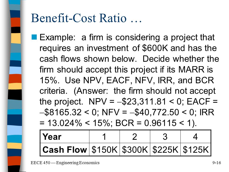 9-16EECE 450 — Engineering Economics Benefit-Cost Ratio … Example: a firm is considering a project that requires an investment of $600K and has the ca