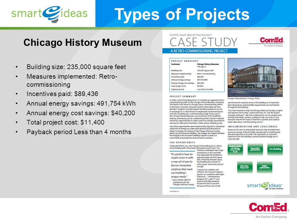 Chicago History Museum Building size: 235,000 square feet Measures implemented: Retro- commissioning Incentives paid: $89,436 Annual energy savings: 491,754 kWh Annual energy cost savings: $40,200 Total project cost: $11,400 Payback period Less than 4 months Types of Projects