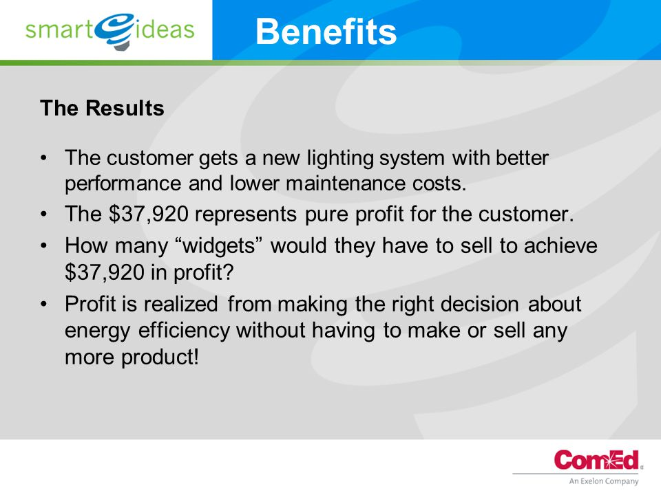 The Results The customer gets a new lighting system with better performance and lower maintenance costs.