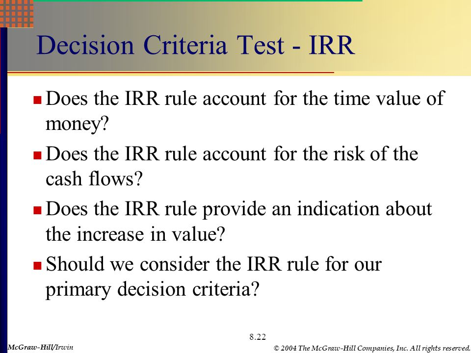 McGraw-Hill © 2004 The McGraw-Hill Companies, Inc. All rights reserved. McGraw-Hill/Irwin 8.22 Decision Criteria Test - IRR Does the IRR rule account