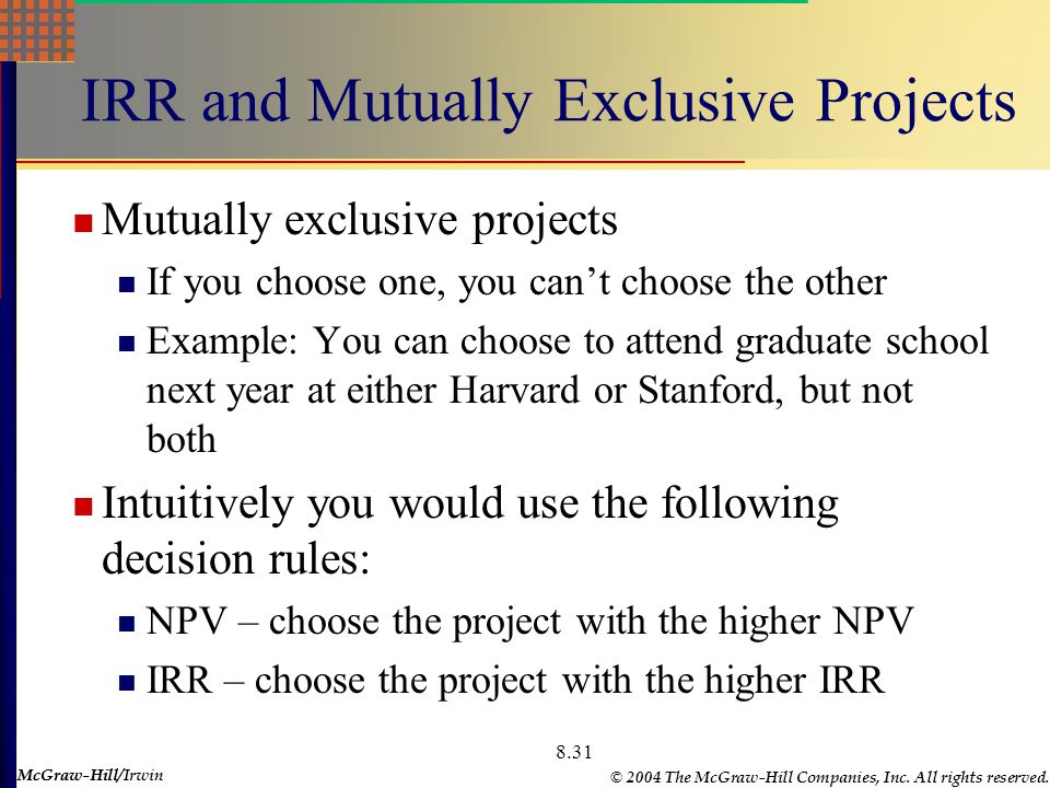 McGraw-Hill © 2004 The McGraw-Hill Companies, Inc. All rights reserved. McGraw-Hill/Irwin 8.31 IRR and Mutually Exclusive Projects Mutually exclusive
