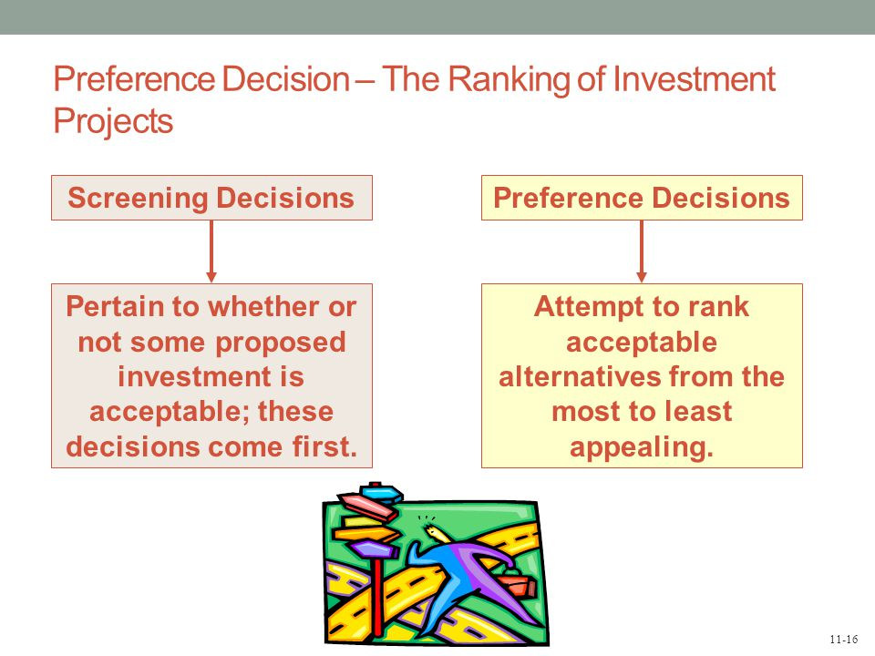 11-16 Preference Decision – The Ranking of Investment Projects Screening Decisions Pertain to whether or not some proposed investment is acceptable; these decisions come first.