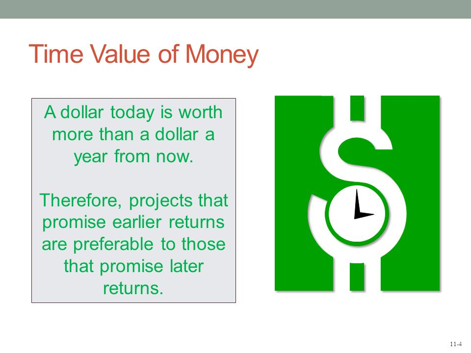 11-4 Time Value of Money A dollar today is worth more than a dollar a year from now.
