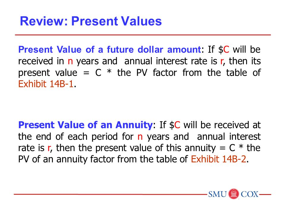 Review: Present Values Present Value of a future dollar amount : If $C will be received in n years and annual interest rate is r, then its present value = C * the PV factor from the table of Exhibit 14B-1.
